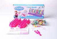 Cheap 2014 frozen Loom Bands set Fun DIY Loom Rubber Kit Colorful Bracelets For Children Toy Gift 10pcs lot