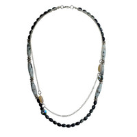 Cheap Fashion Pop Style Women Necklace Platinum Plated Obsidian Necklace Free Shipping Necklaces SNE140177