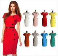 Wholesale New Fashion Women Ladies Office Dress Clothes Knee length Bodycon Slim Pencil Party Dress