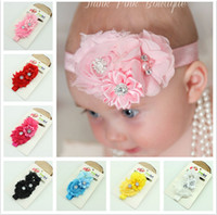 Cheap New Baby Rose Flowers Headbands Girl Chiffon Flower Headwear Headbands Kids Pearl Bow Hair decoration Headbands Children's Hair Accessories