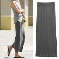 Cheap 2014 Summer Long Maxi Skirt High Waist Full Ankle Length with Elastic Waistband for Women