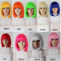 Wholesale colorful BoBo hair wig cosplay short straight medium wigs