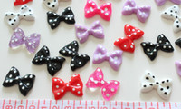 Cheap Set of 100pcs mixed lovely polka dots Bow Cabochons (28mm) Cell phone decor, hair accessory supply, embellishment, DIY