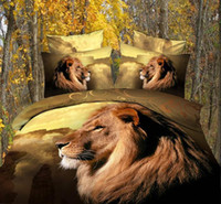 Cheap Personalized ink printing cotton printing with reactive lion bedspread pillowslip 4pcs sets queen size