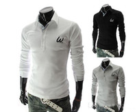 Cheap 2014 New Men's long sleeve POLO shirt embroidery letter pure letter lapel man T shirt Slim Tees men's clothing