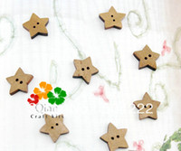 Cheap Set of 250pcs medium size Natural wooden Buttons - Star Shape Vintage charm 0.70inch-MK0166
