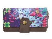 Cheap new Purple desigual Clutch ladies purse multi Card Wallet Handbag PU twill printing embroidery Free postage