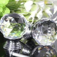 Cheap 2pcs Glass Crystal Cabinet Drawer Furniture Knob Door Handles Kitchen Pull Handle Door Wardrobe Hardware 30mm Clear