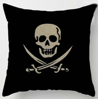 linen / cotton insert not included Square Skull Cushion Cover Pirate Pattern Pillow Case for Home Textile Sofa Bedding Couch Decoration Free Shipping