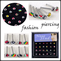 Wholesale OP Mixed Style L Surgical Stainless Steel Multicolor Enamel Nose Stud Bar Piercing Body Jewelry