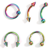 Wholesale OP New Mix styles Rainbow Color Vacuum Plating Stainless Steel Eyebrow Ring Belly Button Rings Body Piercing Jewelry