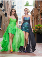 Cheap 2015 Fashion Crystal Bodice Lime Green Black High Low Chiffon Prom Dresses Evening Formal Pageant Bridesmaid Dress Gowns
