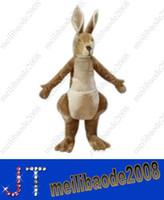 Acheter Adult mascot costume-Caricature de luxe kangourou mascotte Costume Animal adulte Costume mascotte avec ventilateur casque HSA0418