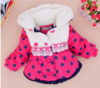 Cheap New arrival baby girl winter warm clothes children high quality cut dot hooded coat jacket
