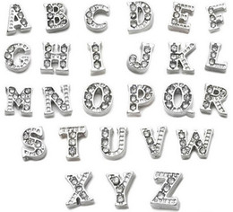 Wholesale floating charms MJ1130025 silver gold half rhinestone letters Alphabet A Z each for glass living memory lockets