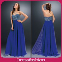 Cheap Sweetheart Peacock Colors Crystal Prom Party Dresses Evening Gowns Chiffon Backless Floor Length Skirts