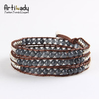 Wholesale Artilady Hand knitted Layer Leather Bracelets Bangles mm bead Natural Grey Agate Bracelets Women Jewelry