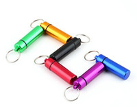 Wholesale Micro assorted colors Pill box case Cache Container Geocache Geocaching Key rings keychain holder