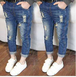 Wholesale 2014 Latest Style Baby Girls Autumn Fashion Denim Trousers Childrens Hot Sale Straight Jeans