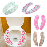 Cheap 1Pair Washroom Toilet Mat Seat Cover Pad Warmer Health Washable Adhensive Lovely Sticky Free Shipping