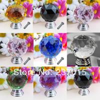Cheap 5Pcs 30mm Fashion Crystal Glass Door Knob Pull Drawer Cabinet Kitchen Handle Wardrobe Free Shipping