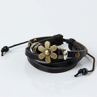 Cheap Women Lady Beads Antique Copper Flower charm Bracelets & Bangles Loom Bands Leather charm Bracelets #70403