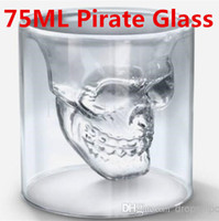 Wholesale Doomed Crystal Skull Head Vodka Shot Glass Pirate Vaccum Glasses Beer Mug Ounces ML Cup Drinking Ware Home Bar Free DHL FEDEX Shipping