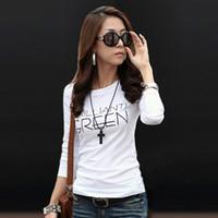 Cheap Women Letter Print Pure Cotton T-shirts Casual Slim Tee Shirt All-Match Long Sleeve Basic Blouse 2003 2014 Hot-Sale Fashion SM,L,XL,XXL,XXXL