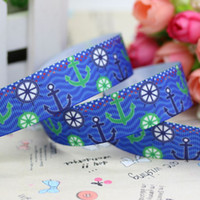 anchor decoration party - 7 navy anchor printed grosgrain ribbon hairbow party decoration diy OEM mm P2848