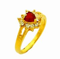 Cheap Romantic 24K Gold Plated Red Swarovski Heart CZ Diamond Flower Women's Rings Factory Price Wedding Jewelry