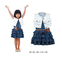 short dress with jeans - 2014 New Summer Girl s Dress Set Baby White Vest Girl Jeans Tutu Dress With Belt Navy Denim Dresses Baby Girls Sets Kid Clothing A382