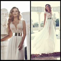 Cheap Pretty V-Neck A-Line Side Slit Chiffon Elie Saab Lace Wedding Prom Evening Dresses Celebrity Carpet Party Dresses With Cap Sleeves&Gold Sash