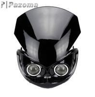 Wholesale PAZOMA motorcycle accessories REDNEW UNIVERSAL ENDURO CROSS DUAL PROJECTOR BLACK STREETFIGHTER HEADLIGHT FAIRING