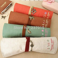 Cheap Hot Selling Makeup Cosmetic Roll Canvas Pouch Pen Pencil Coin Wallet Bag Storage Purse Case