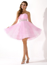 Wholesale Hot Sale Pink Strapless Tulle Homecoming Dresses Cheap Beads Working Empire Sweet A line Sequins Hot Prom Gowns Junior Pretty SD134
