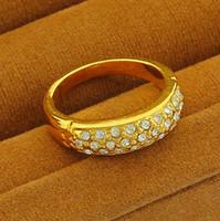 Cheap Pop Fashion Elegant 24K Gold Plated Shinning Swarovski Crystal Women's Rings Wholesale Price Wedding Jewelry R024