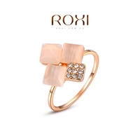 Cheap ROXI 2014 Free Shipping Gift Rose Gold Plated Romantic Square Opal Ring Statement Rings Fashion Jewelry For Women Party Wedding