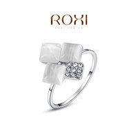 Cheap ROXI 2014 Free Shipping Gift Platinum Plated Romantic Square Opal Ring Statement Rings Fashion Jewelry For Women Party Wedding