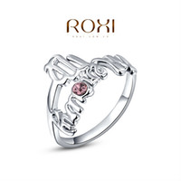 Cheap ROXI Brand Free Shipping Gift New Platinum Gold Plated Statement Wintersweet Wedding Opal Ring Fashion Jewelry Marry Me Ring