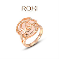 Cheap ROXI 2014 Free Shipping Gift Rose Gold Plated Romantic Hollow Opal Ring Statement Rings Fashion Jewelry For Women Party Wedding