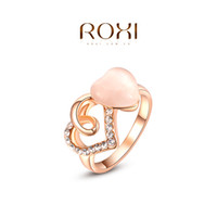 Cheap ROXI 2014 Free Shipping Gift Rose Gold Plated Romantic Double Heart Opal Ring Statement Fashion Jewelry For Women Party Wedding