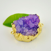Wholesale DIY Gold Plated Purple Drusy Druzy Quartz Connector Beads Stone Jewelry Findings