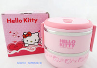 Cheap Kawaii Hello Kitty 2 Layer Stainless Steel Food Storage Box Kids Thermal Insulated Food Container Bento Lunch Box Tableware
