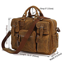 Cheap Wholesale-OP-Rare Crazy Horse Leather Men's Briefcase Laptop Bag Men's Bag Fashion Travel Bag # 7028B