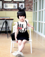 Cheap 2014 Autumn Korean Children Clothing Girls Cute Cartoon Cats Bow Striped Sets Baby Fly Sleeve Cat Tee + Solid Suspender Skirts Outfits I1763