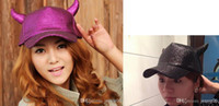 Wholesale Women men baseball cap ball hat Photography props Party Ox horn caps stage performance shiny hat unisex headgear sports wear hotsell EMS