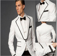 Wholesale Top quality white wedding suit Custom Made Groom Tuxedos Best man Groomsman Men Wedding Prom Suits