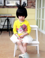 Cheap 2014 Autumn Korean Children Clothing Girls Cute Flower Pattern Pink Yellow Sets Baby Floral Tee + Solid Gauze Suspender Skirts Outfits I1764
