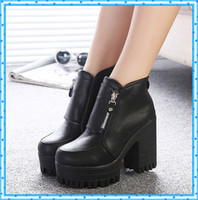 Wholesale ankle boots heels women winter autumn platform shoes woman chunky high heels fashion ladies pumps martin motorcycle booties C299