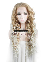 Wholesale Drag Queen Wig quot Extra Long Blonde Heat Friendly Synthetic Hair Fashion Curly Wig N18 HR